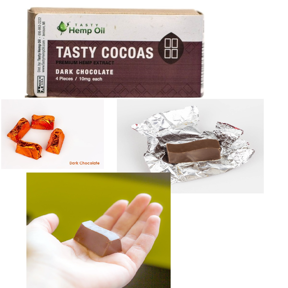 Tasty Cocoas Premium Hemp Oil Dark Chocolate (10mg CBD each)
